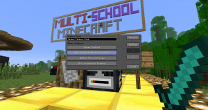 The Teleport Block gets you around the Multi-School MinecraftEDU server.